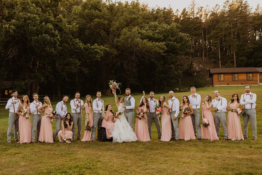 Bridal Party Photos | Custer State Park Wedding | Pink Blush Bridesmaid Dress | Grey Groosmen Suits | Bowties and Suspenders | Cassie Madden Photography