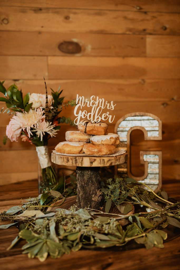 Donut Wedding Cake | Alternative Wedding Cakes | Rustic Wedding Decor | Cassie Madden Photography