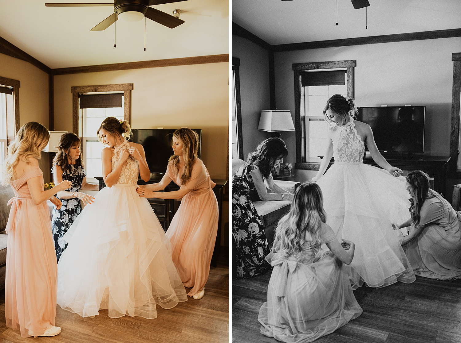 Bride Getting Ready | Putting On the Dress | Tulle Halter Top Ballgown | Cassie Madden Photography