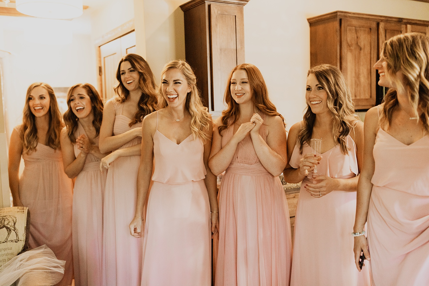 Bridesmaids Getting Ready | Bridesmaids First Look Reaction | Pink Bridesmaid Dresses