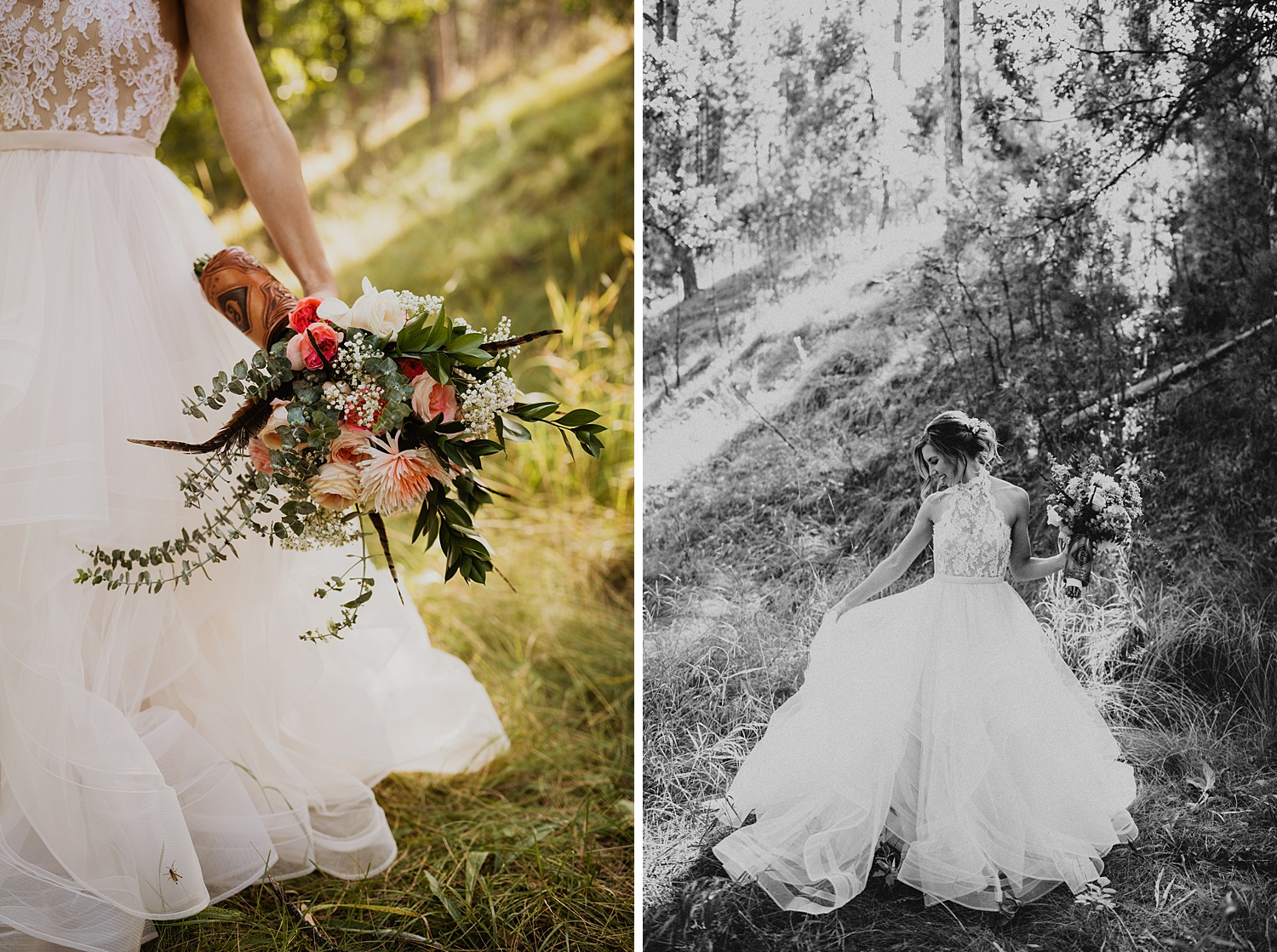 South Dakota Wedding | Bridal Bouquet | Tulle Halter Top Ballgown | Cassie Madden Photography