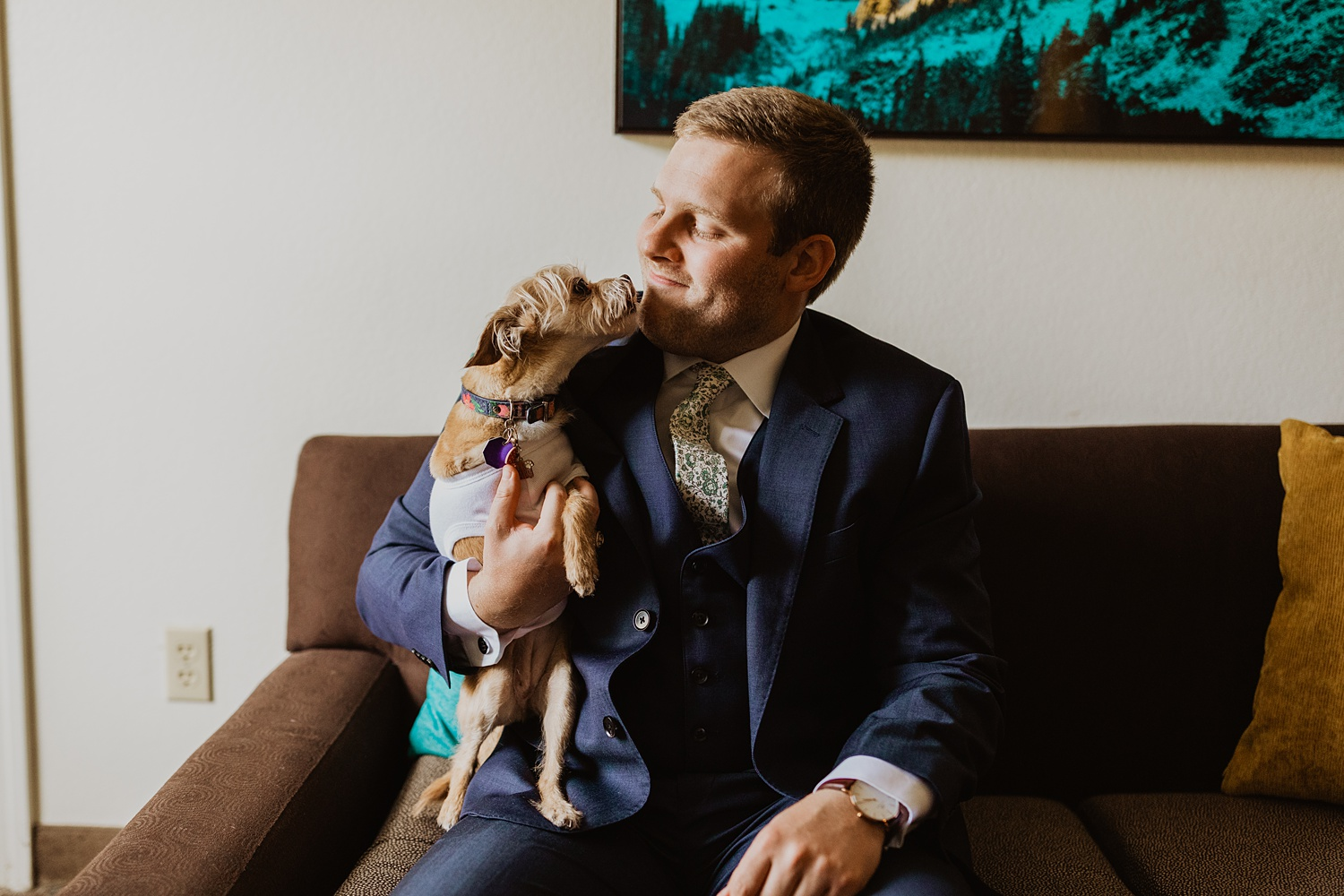 Dog Bridal Party | Dog Wedding Outfit | Groom Getting Ready  | Cassie Madden Photography